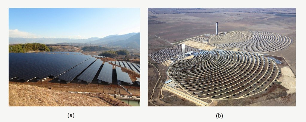 Fig. 2. (a) The 10 MW PV power plant in Mount Komekura, Japan [9], (b) PS10 (front) and PS20 (back) CSPs near Seville, Andalusia, Spain [10]