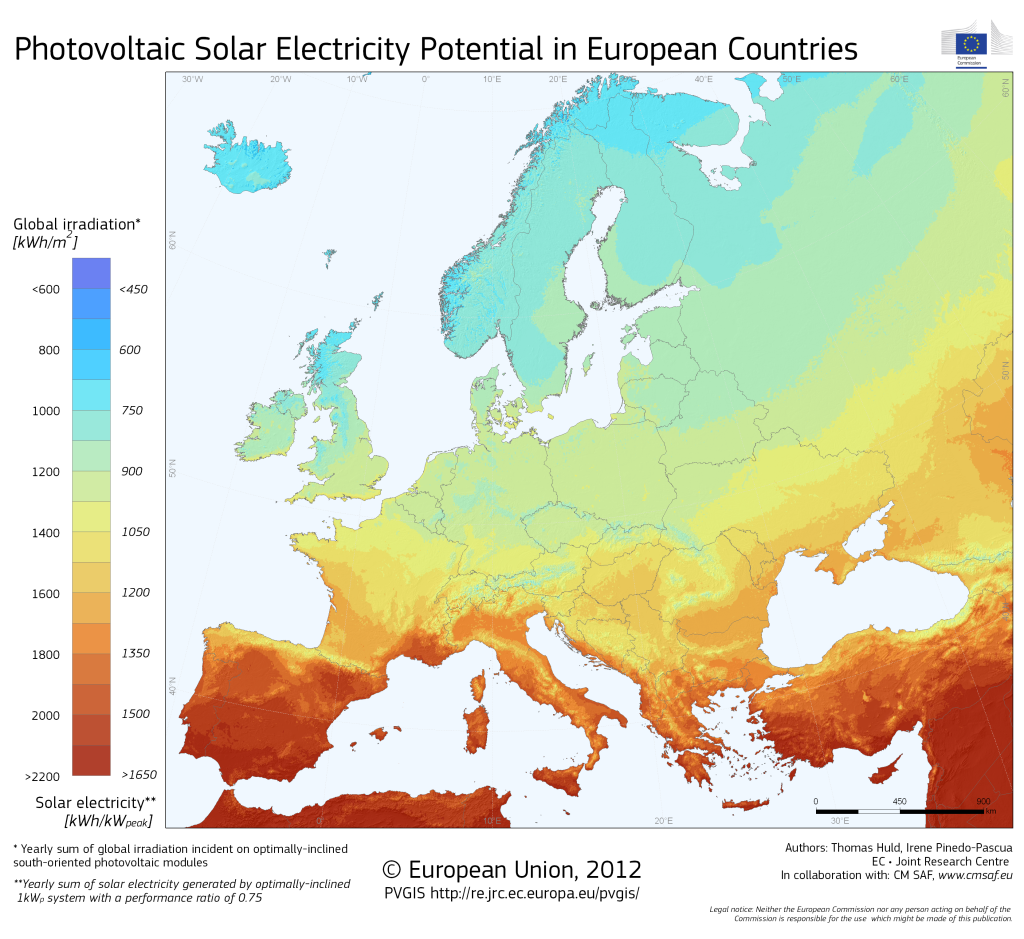 Fig. 3. Photovoltaic solar electricity potential in European countries
